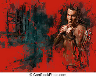 horizontal portrait muscular young guy street-fighter,...