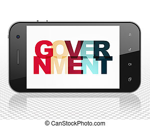 Political concept: Smartphone with Government on  display