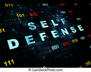 Security concept: Self Defense on Digital background -...