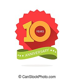 Tenth anniversary badge with shadow on red starburst, yellow number