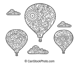 Aeronautic balloon coloring book for adults vector...