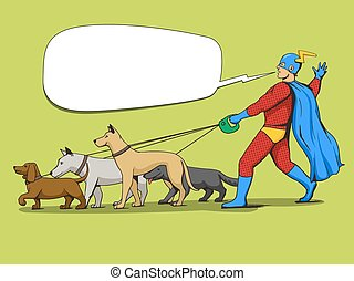 Superhero man and dogs comic book vector - Superhero man and...