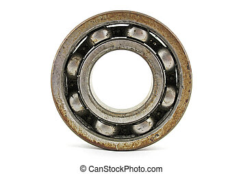 Old rusty bearing on a white background