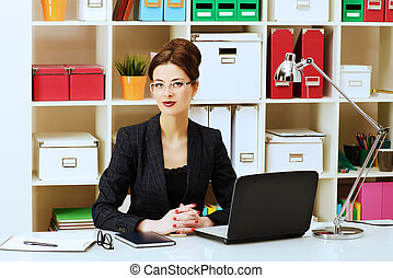 bank lending - Businesswoman working at the office Business,...