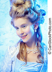 fairy ice queen - Beautiful young lady in a historical dress...