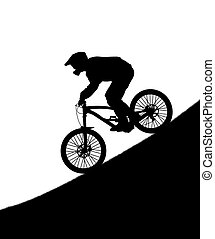 Silhouette of the cyclist on downhill bike isolated on white...