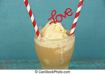 root beer float with striped straws - Red and white striped...