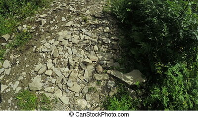 Road with stones in mountains