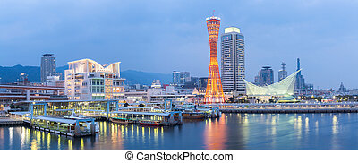 Kobe Tower Panorama - Panorama of Skyline and Port, Kobe...