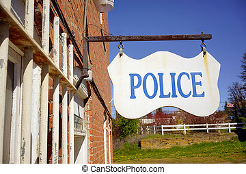 Police Department Sign Small Rural Town America