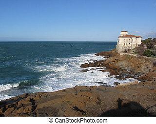 Tuscan coast in winter with Boccale castle near Livorno,...