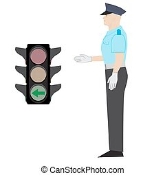 policeman and traffic light - vector policeman showing drive...