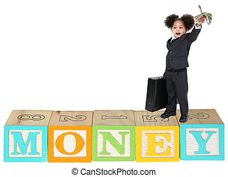 Three Year Old Girl in Suit with Money
