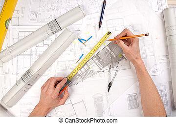 cianografie, attrezzi, architettura