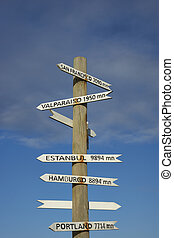 Sign post on Easter Island, Chile - Sign post on the coast...