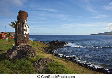 Moai statue, Easter Island, Chile - Lone moai statue on the...