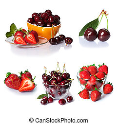 set from strawberry and cherry berries. isolated on white -...