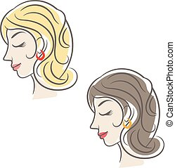 Silhouette beauty woman with hair. Vector illustration