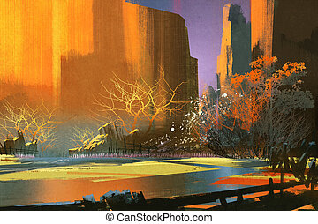illustration art of landscape - illustration art of colorful...