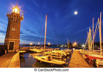 Lighthouse in Desenzano del Garda. Desenzano del Garda,...