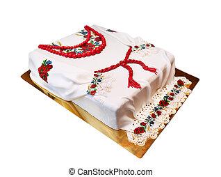 ucranio, pastel, en, el, forma, camisa,