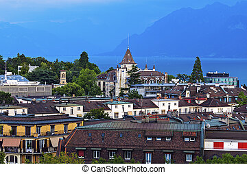 Lausanne architecture and Lake Geneva Lausanne, Vaud,...