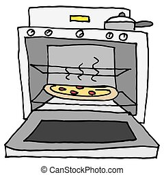 Oven baked pizza - An image of a pizza baking in oven.