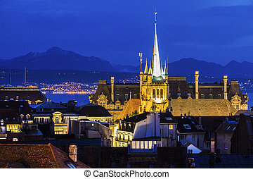 Lausanne panorama with Saint-Francois Church Lausanne, Vaud,...