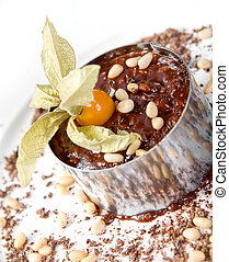 Chocolate risotto dessert closeup isolated on a white...