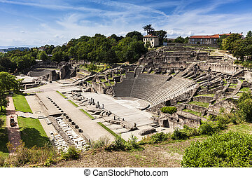 Ruins of Roman Theatre in Lyon. Lyon, Rhone-Alpes, France.