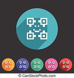 Qr code icon flat web sign symbol logo label