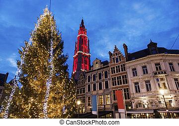 Christmas on Grote Markt in Antwerp Antwerp, Flemish Region,...