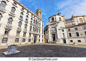 Campo San Geremia and SS. Geremia e Lucia Church in Venice....