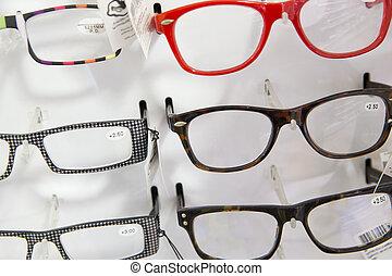 médico, óculos, loja