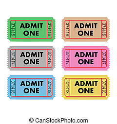 Admit One Tickets - Vector illustration of six Admit One...