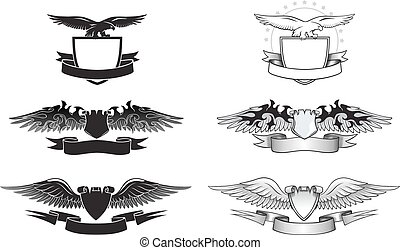 Winged Emblem set with Eagles, Wings and Shields