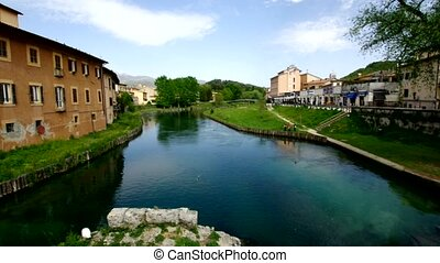 Velino River Rieti, Italy - Velino river with the ancient...
