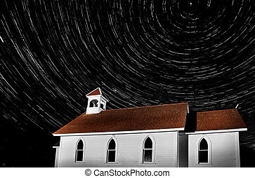 Church Night Shot Black and White - Church Night Shot star...