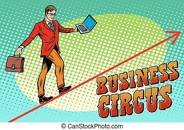 Businessman acrobat business circus pop art retro style. The...