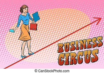 Businesswoman acrobat business circus pop art retro style...