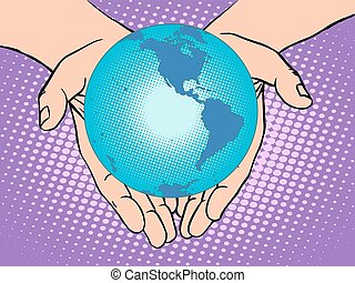 Planet Earth in hands, South and North America - Planet...