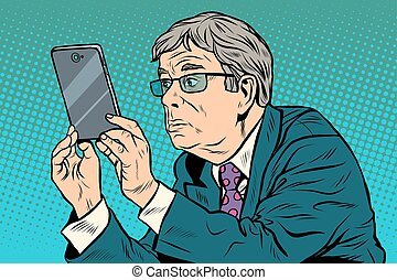 The funny man taking pictures with smartphone pop art retro...