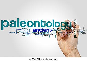 paleontología, palabra, nube,