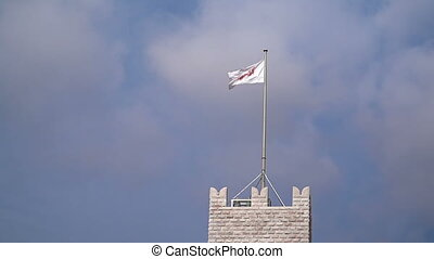 Flag of Monaco waving in the wind with flagpole on the...