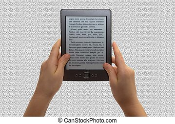 reading a tablet - a child read an e book in a grey texture