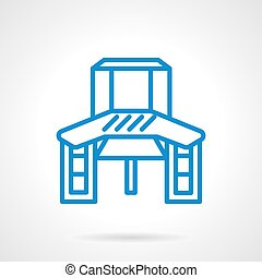 Work table blue line vector icon - Table for crafts work...
