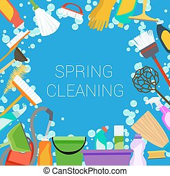 spring cleaning supplies frame Tools of housecleaning...
