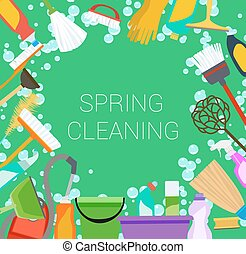 Spring cleaning supplies frame on green. Tools of...