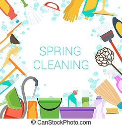 Spring cleaning supplies frame on white Tools of...