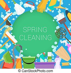 Spring cleaning supplies frame on green and blue. Tools of...